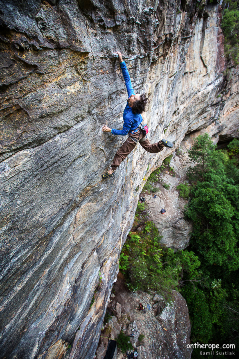 "Simon Blair ""Sword of  Damocles' 7c+ Foto:Kamil Sustiak"